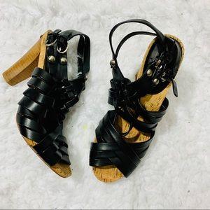 COACH Black Adrienn Block Heel Strappy Sandals